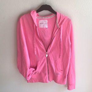 VS hot pink zip up hoodie